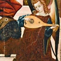 Marie, Reine des Cieux, panneau du retable de l'église Sainte-Marie-Majeure d'Albalate del Arzobispo (1437-1439), conservé au musée de Saragosse. Détail